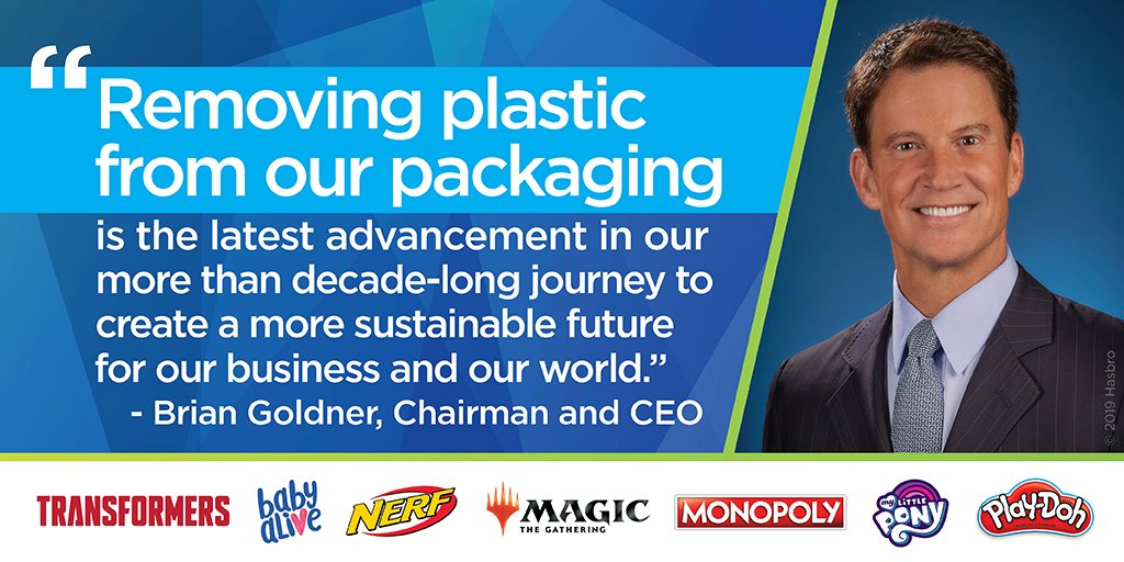 Hasbro has decided to begin eliminating plastic in new packaging starting next year! It's great to see larger companies take corporate responsibility towards #sustainability.