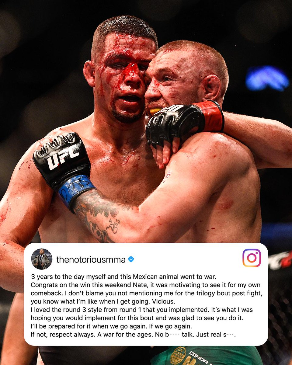 Conor McGregor congratulates Nate Diaz on the three year anniversary of their record-setting fight (via @TheNotoriousMMA)