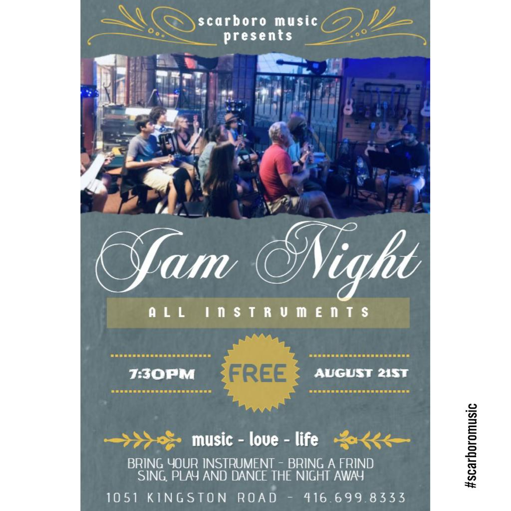 JAM NIGHT - WEDNESDAY AUGUST 21st - 7:30PM! All instruments - come join the fun! Sing, play and dance the night away.  Front room of Scarboro Music - 1051 Kingston Road! FREE JAM! #wearemusic #jamnight #jamsession #musicstore #toronto #the6ix<br>http://pic.twitter.com/2vKH9aW5UU