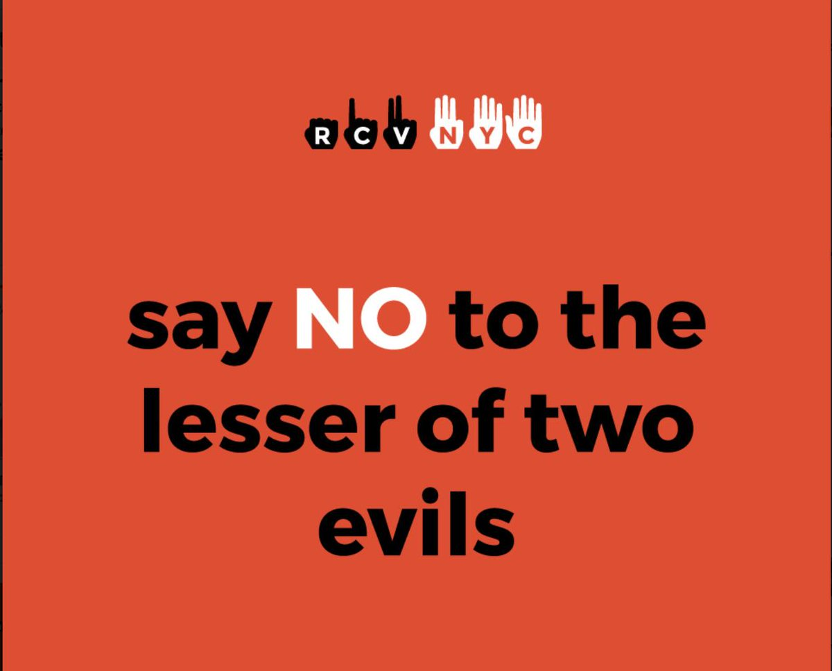 Voting for the lesser of two evils sucks. #RankedChoiceVoting means you always get to vote for your favorite, and your next four favorites.