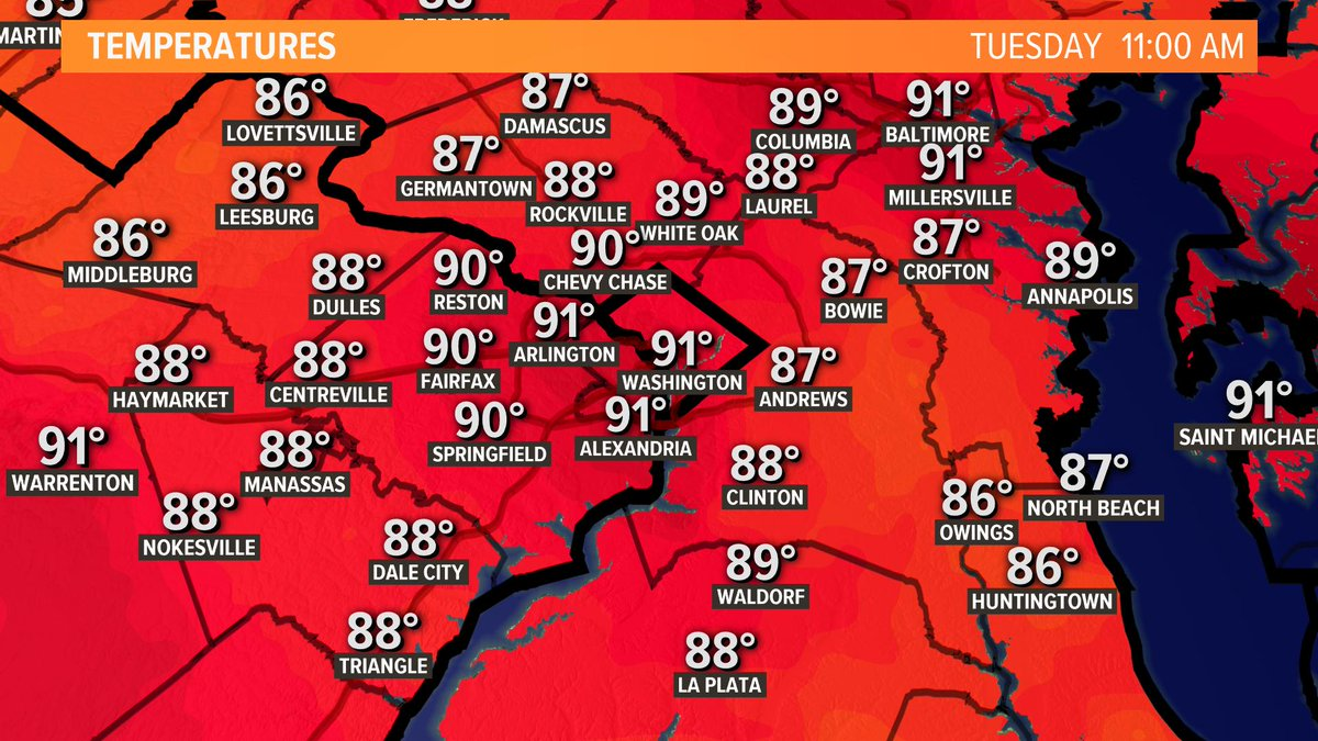 We've already hit the 90s in most spots this morning. Another hot afternoon with showers and storms possible. #wusa9weather @wusa9<br>http://pic.twitter.com/lF6UUuQdfr