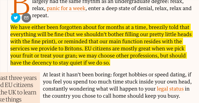 """""""The UK has not been a pleasant place to live for European immigrants* since the referendum, and phases of brief panic followed by months of denial do not make for the most stable of mindsets."""" *(This is, on all accounts, equally true for non-EU immigrants, esp. non-white imgr.)"""