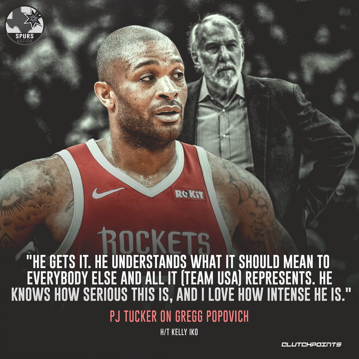 PJ Tucker only has good words to say about Gregg Popovich's coaching.   #GoSpursGo #Spurs<br>http://pic.twitter.com/ofmVpvpGmq