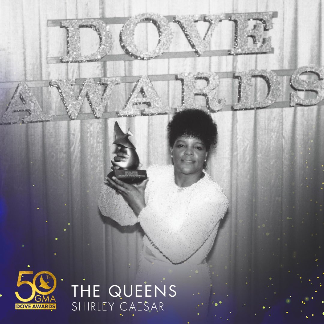 """Pastor @PastorSCaesar, shown here winning her award for Traditional Gospel Album of the Year in 1985, is a multi-award winning artist, with 11 GRAMMY Awards, 15 Dove Awards, and 13 Stellar Awards to her credit. She's known as the """"First Lady of Gospel Music"""" !!!  #DoveAwards<br>http://pic.twitter.com/VFtA8MZ6LV"""
