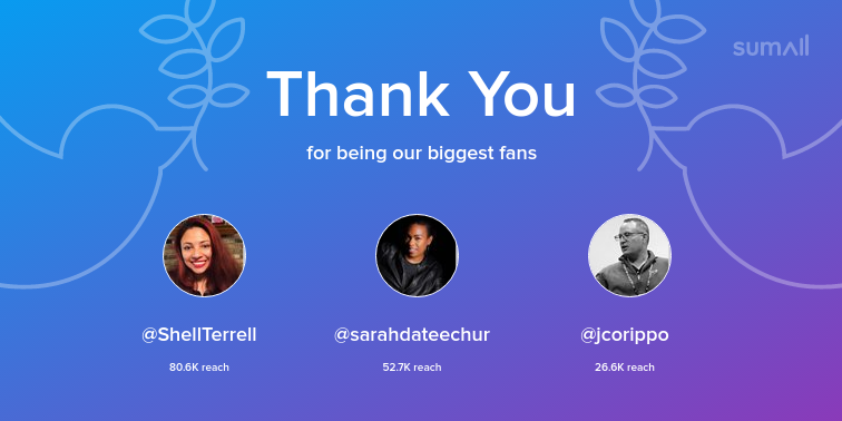 Our biggest fans this week: ShellTerrell, sarahdateechur, jcorippo. Thank you! via sumall.com/thankyou?utm_s…