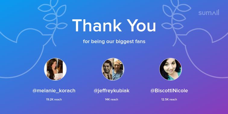 Our biggest fans this week: melanie_korach, jeffreykubiak, BiscottiNicole. Thank you! via sumall.com/thankyou?utm_s…