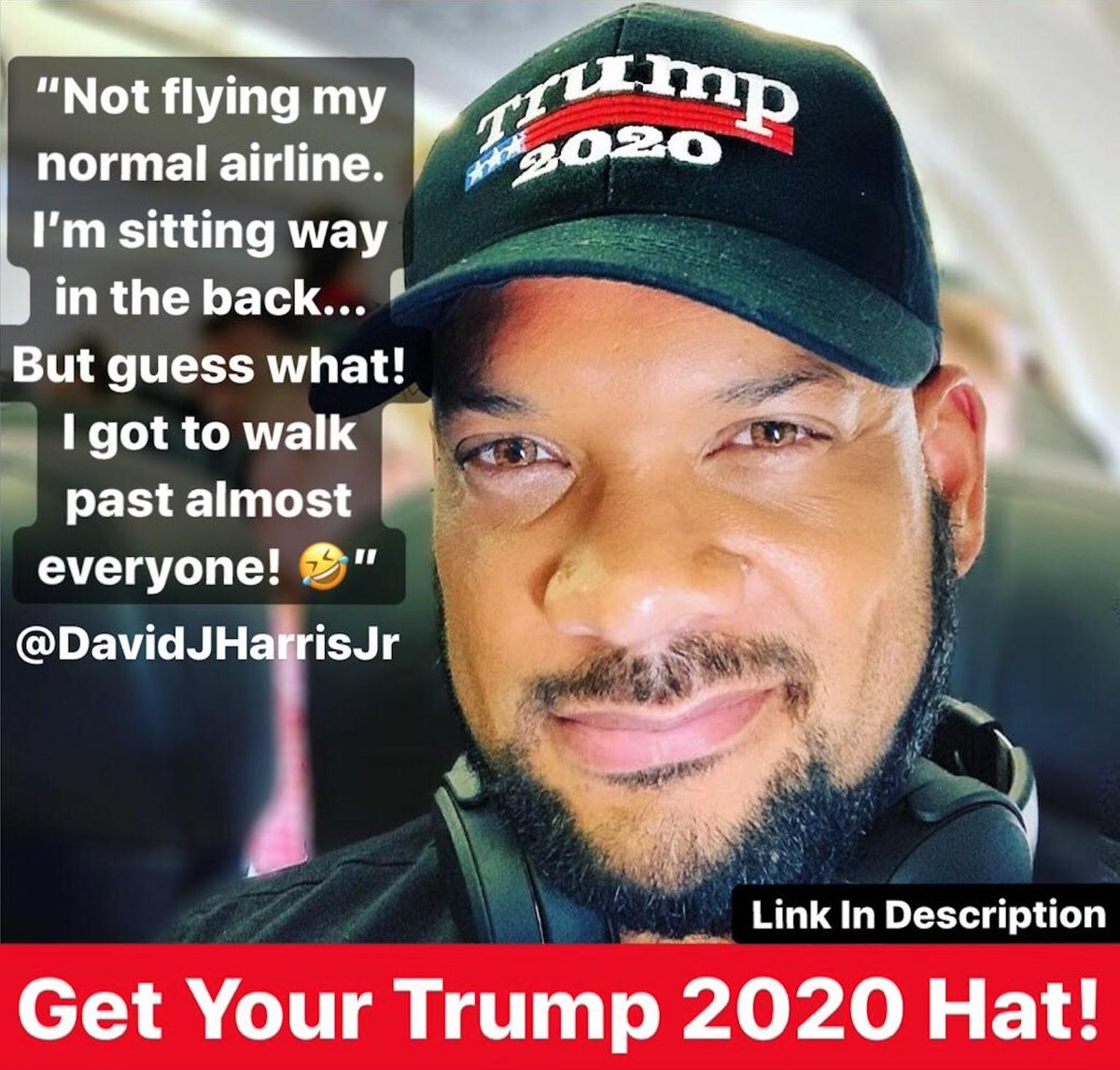 🤣🤣Love wearing my Trump 2020 Hat on the airplane!! Get yours TODAY... Only while supplies last!! >> shop.davidharrisjr.com/collections/dj…