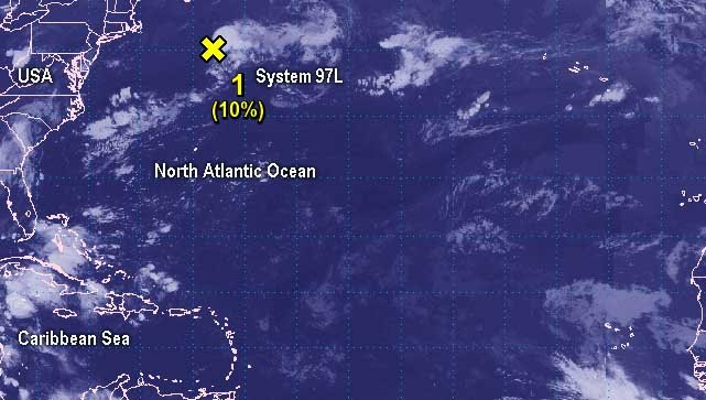 North Atlantic- System 97L Has a Low Chance to Develop NOAAs GOES-East satellite provided a look at the Atlantic Ocean, that has one lone system with potential for tropical cyclone development today, August 21. The a low pressure system, System 97L.... >>>>