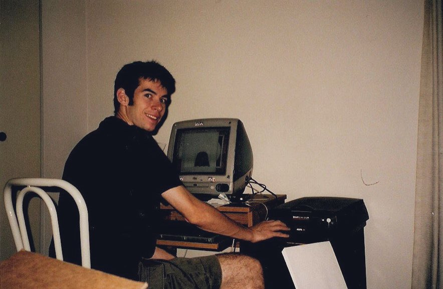 """Today is 20 years of """"Put Your Hands Up For Detroit"""", our first record feat. Matthew Dear and Dave """"Disco D"""" Shayman. Here's Dave working on graphics in his apt where we finished the song. We lost Dave far too young to suicide. Love yourself and your friends every day. <br>http://pic.twitter.com/D43BvJ02Xd"""