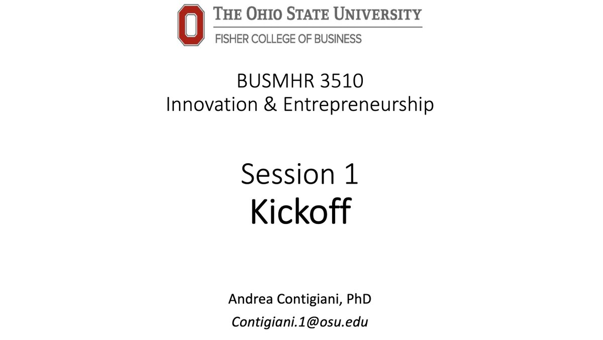 Very excited to kickoff my very first class this afternoon at @FisherOSU @OhioState! The goal is to build innovative companies, combining @leanstartup with latest academic #research in #strategy & #organization. Much attention on #social issues, especially thru @OhioStateInFACT.<br>http://pic.twitter.com/3kZZFqnkZF