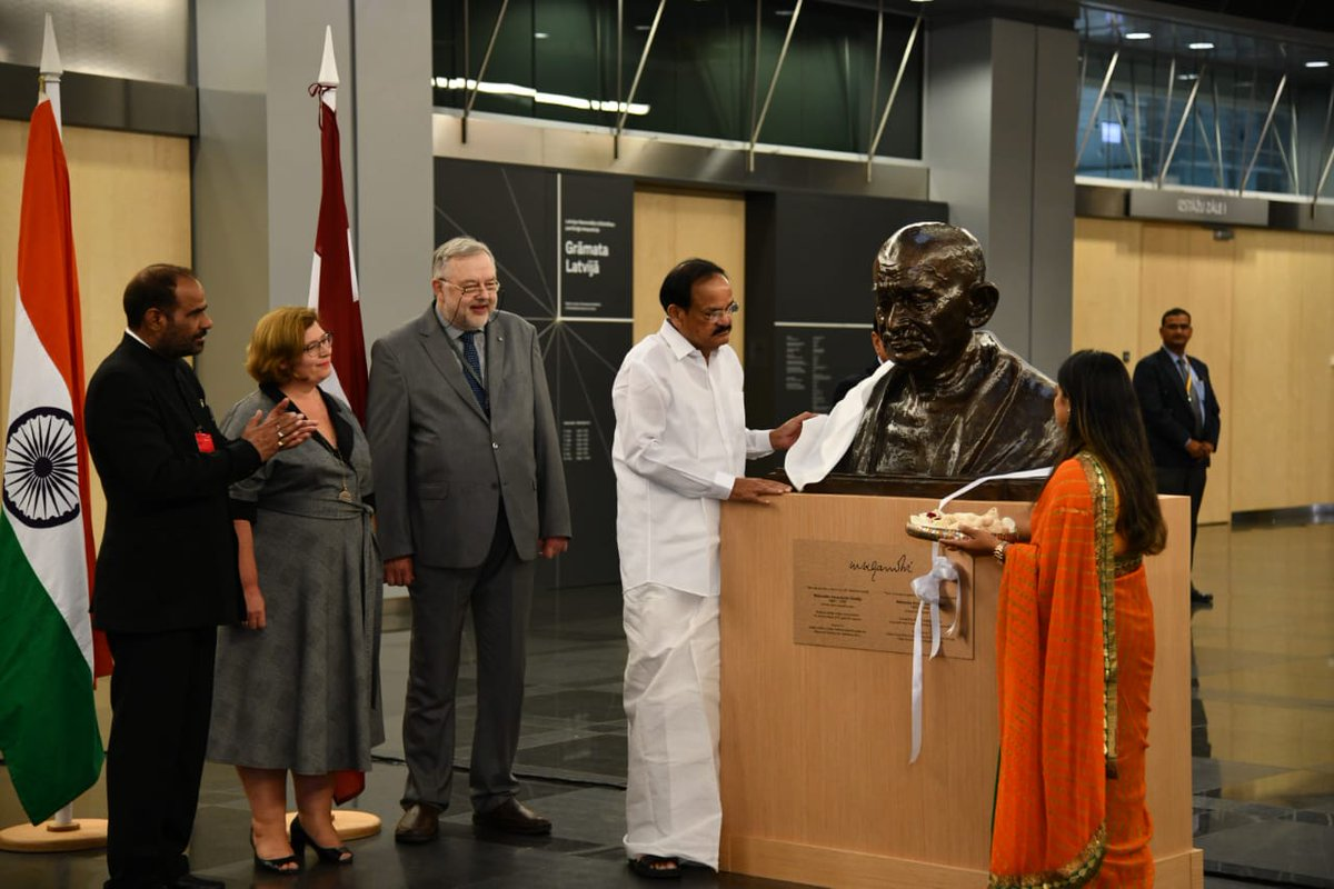 It is my proud privilege to unveil the bust of #MahatmaGandhi, the Father of Indian nation today, at Latvia's prestigious National Library, which is also called the Castle of Light. #library #Latvia<br>http://pic.twitter.com/nfQ0gcCaDr