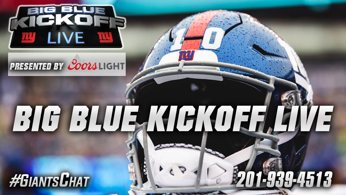 Big Blue Kickoff Live - presented by @CoorsLight starts at noon on giants.com and the @Giants Mobile App with @howardcross87 and I - we take your calls at 201-939-4513 - and your twitter questions #giantschat
