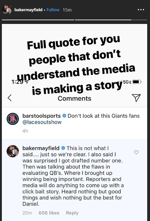 @GQMagazine .@bakermayfield took to Instagram moments ago to explain his interview taking shots at #Giants rookie Daniel Jones.