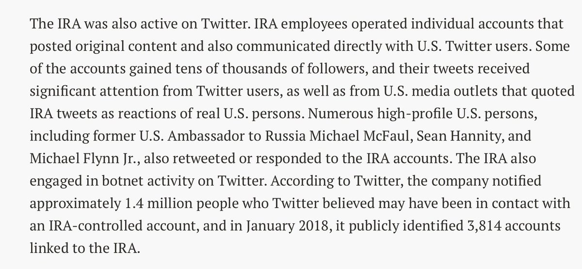 Notice that Steph Numbersalad follows *116K* accounts. Who the hell follows that many accounts? Remember that we know from Mueller's indictment against the Internet Research Agency that they rely on fake accounts AND real U.S. accounts to amplify disinformation. From our summary: <br>http://pic.twitter.com/R6x3FDM9OV