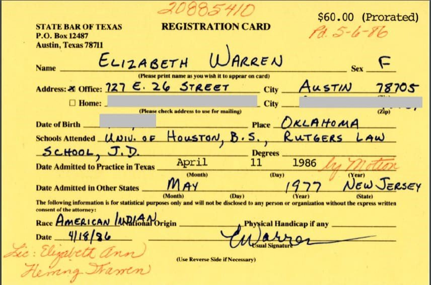 As Elizabeth Warren discusses criminal justice, here's a question: what's the criminal penalty for lying on her State Bar registration card?