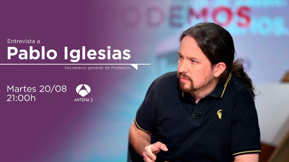 📺 ¡No te pierdas a las 21:00 h la entrevista a @Pablo_Iglesias_ en Antena 3! En ella explicará la propuesta que hemos enviado al PSOE para avanzar hacia un Gobierno de coalición. 🔴 En directo aquí 👉 atresplayer.com/directos/anten…