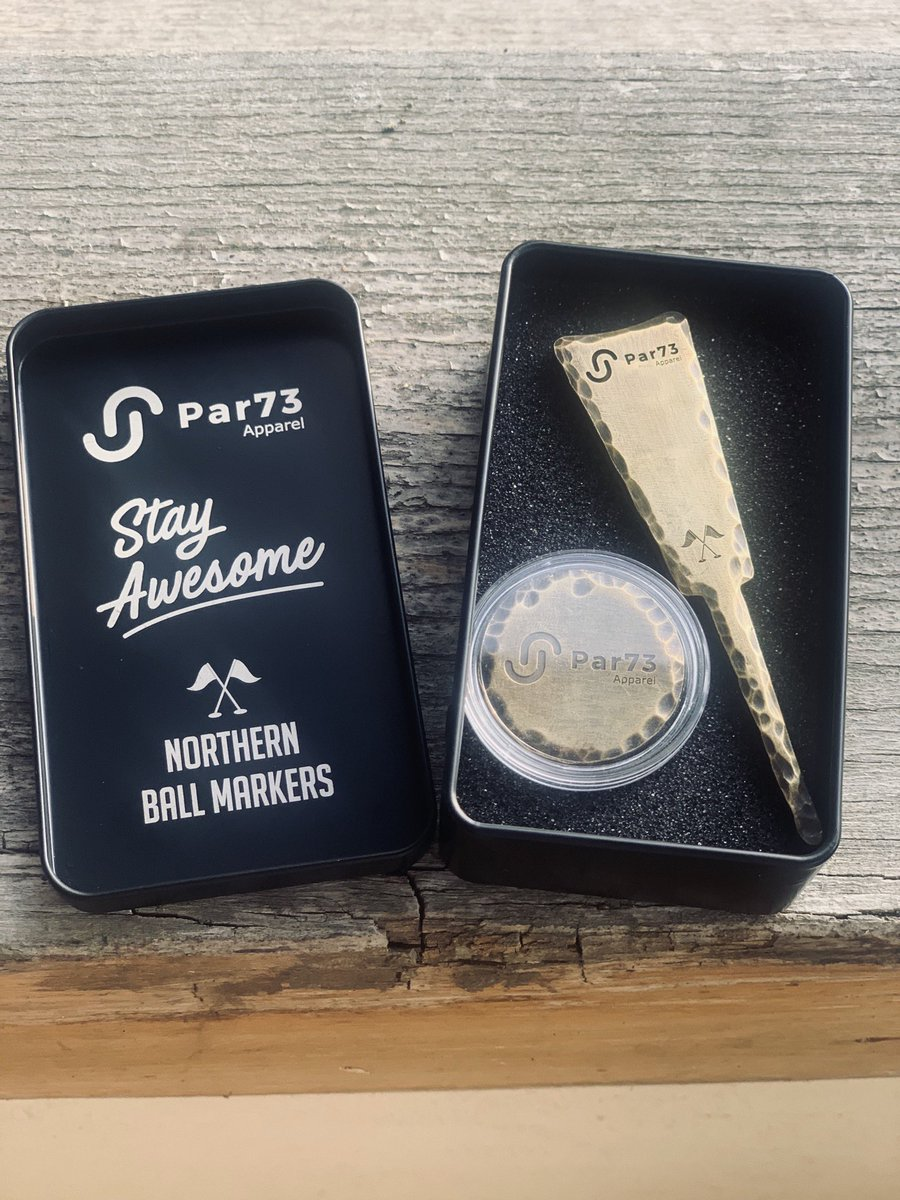 How awesome is this?  @NorthernMarkers sent me this lovely surprise over the other day my own personalised ball marker and single prong pitch repair tool in this cool little tin!    Who thinks we should get some limited edition personalised #golmates ones in?  Perfect Xmas gift<br>http://pic.twitter.com/vxdHR1MZRZ