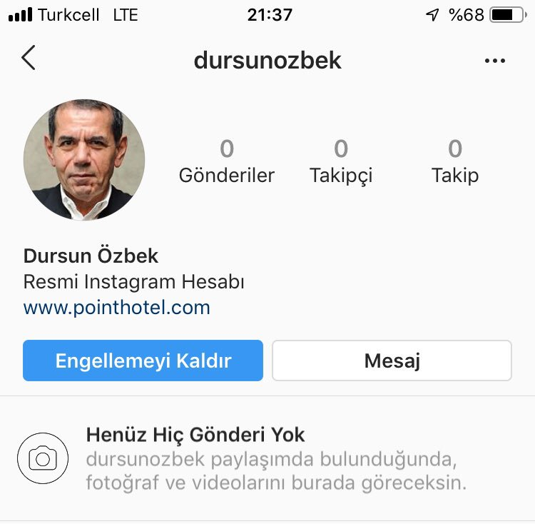 O kadar büyük #Galatasaray lıyım ki yanlışlıkla sağda solda görmeyim diye engellemişim adamı. Engellenenler listesinde gördüm yine sinirlendim #instagram