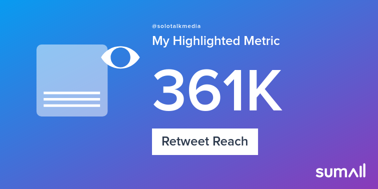 My week on Twitter 🎉: 4 Mentions, 960 Mention Reach, 56 Likes, 8 Retweets, 361K Retweet Reach. See yours with sumall.com/performancetwe…