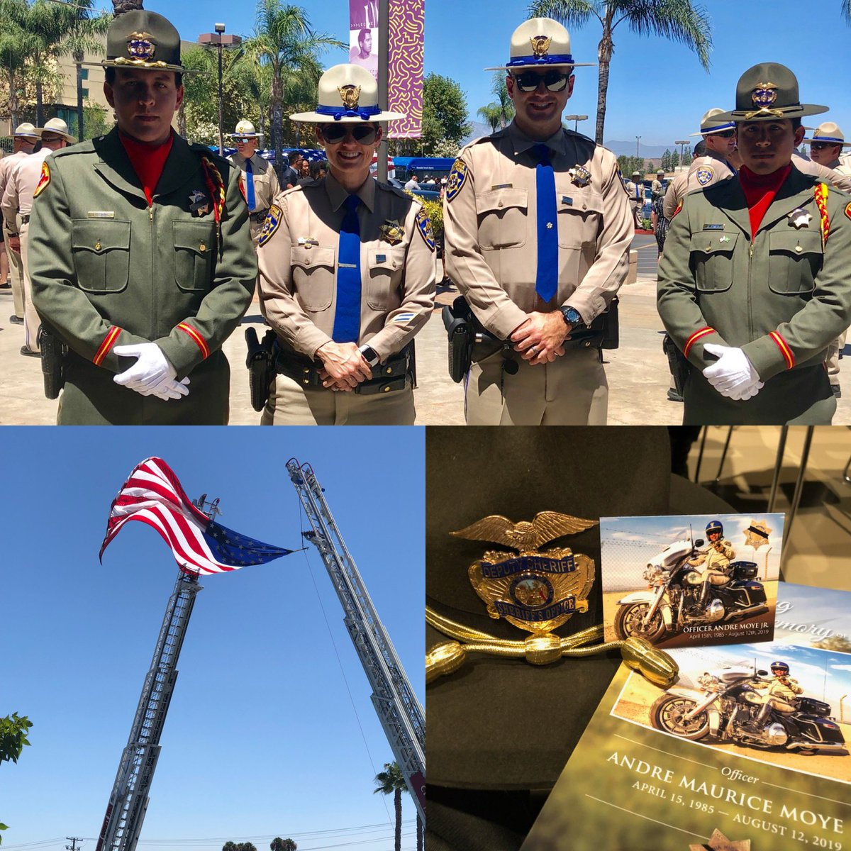 Honoring Officer Andre Moye, Jr. Kern County Sheriff's Office Honor Guard members Deputy Aguilar and Deputy Garcia attended the memorial service for California Highway Patrol Officer Moye held in Riverside. Officer Moye was killed in a shooting at a traffic stop August 12, 2019 https://t.co/ZVEx4qo5Le