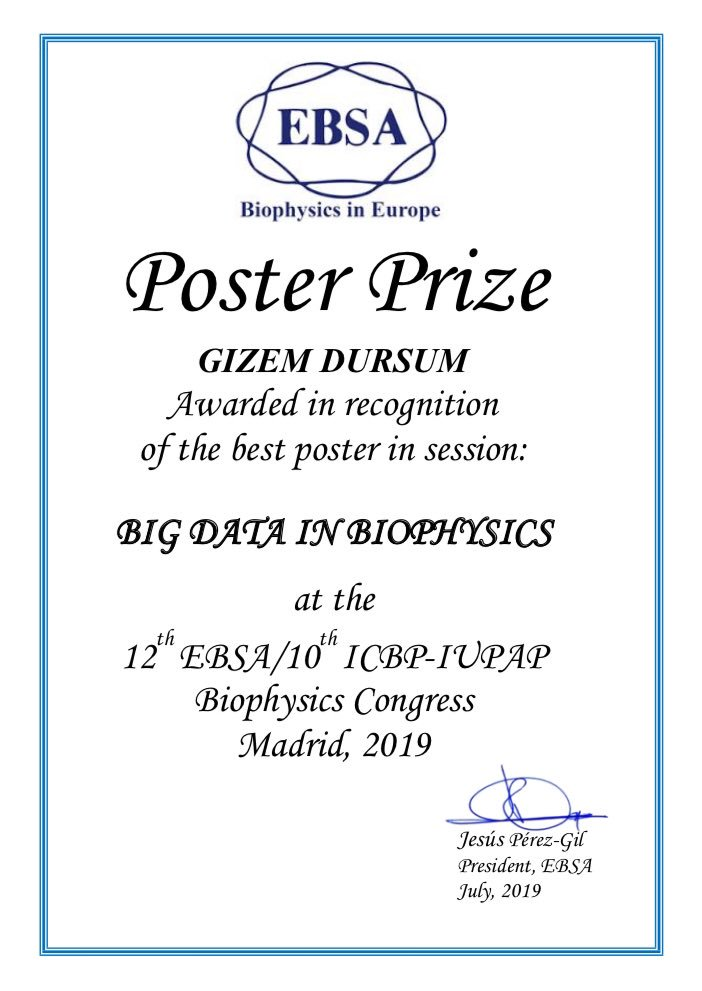 """Our paper has won the best poster prize in """"Big Data in Biophysics"""" session at 12th EBSA / 10th ICBP-IUPAP Biophysics Congress. #AutoIgg<br>http://pic.twitter.com/JSGlGsNUO9"""