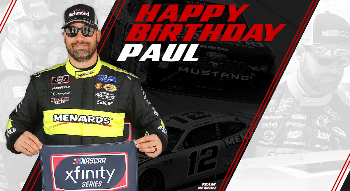 Happy birthday, Paul Menard! Retweet to help us wish Paul a happy birthday. 🎉🎂 #NASCAR
