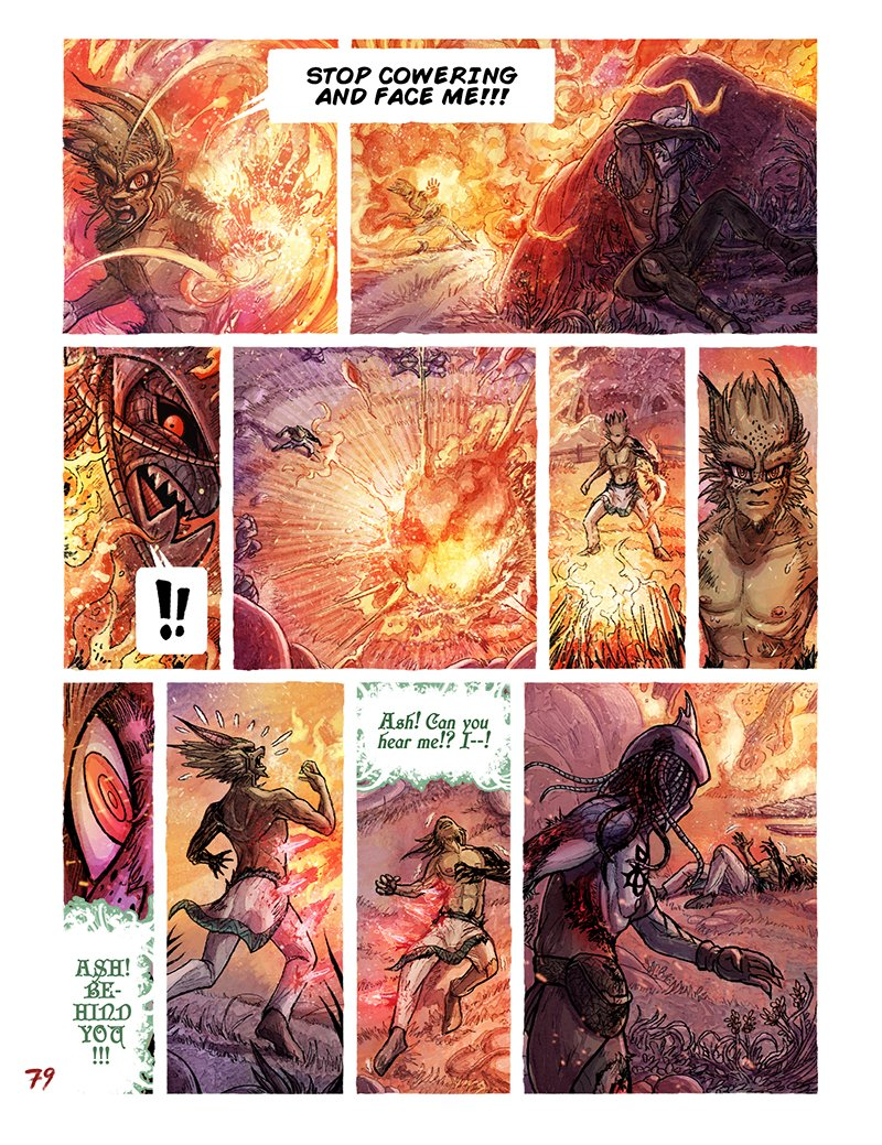 Edenspell Book One | Chapter 2 | Page 30 'Fireball' - Ash showcases the firepower of his Edenspell! Zane managed to evade and make a counter attack, at the cost of taking damage from the blast. Could this be it for Ash? [11hrs] #webcomics #ComicArt #makecomics #fantasy #edenspell<br>http://pic.twitter.com/FxquqXY7TH