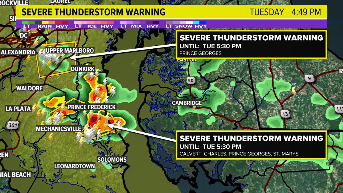 Severe storms packing heavy rain and hail for CALVERT, CHARLES, PRINCE GEORGES, ST. MARYS. @wusa9 #wusa9weather <br>http://pic.twitter.com/xMeYTg43DS