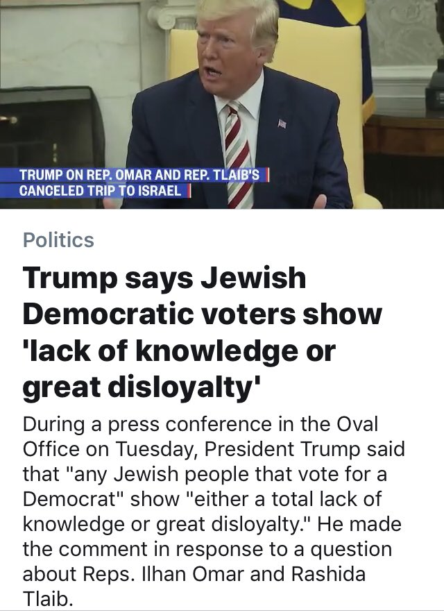Trump slammed for saying Jews disloyal if they vote for Democrats