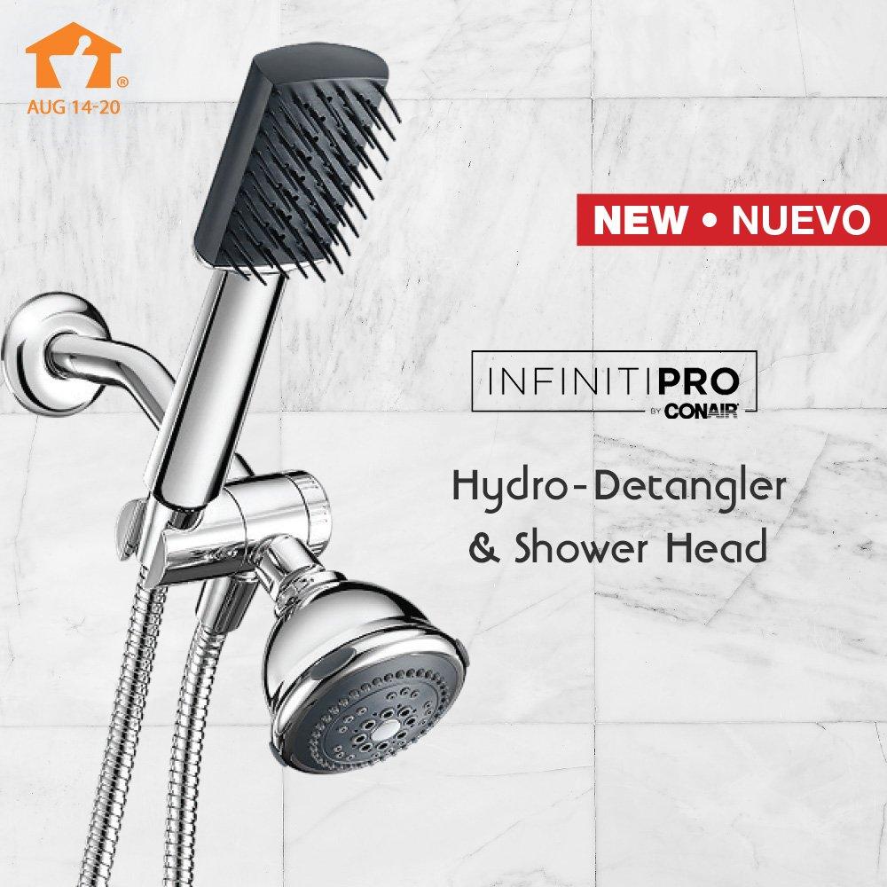 Beautiful hair starts in the shower! NEW to Navarro, the Conair Infiniti Pro Hydro Detangler Brush and Shower Head. Now stylishly priced at $29.99. 🚿 #Conair #InfinitiPro #showerhead #shower #detangler #beauty #haircare