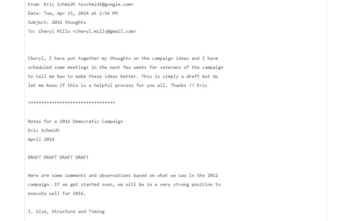 A leaked email showed that in 2014 #Googles #EricSchmidt offered to run #Hillarys tech campaign (see pic). In 2015, Schmidt in fact funded The Groundwork, a highly secretive tech company, the sole purpose of which was to put Clinton into office. qz.com/520652/groundw…