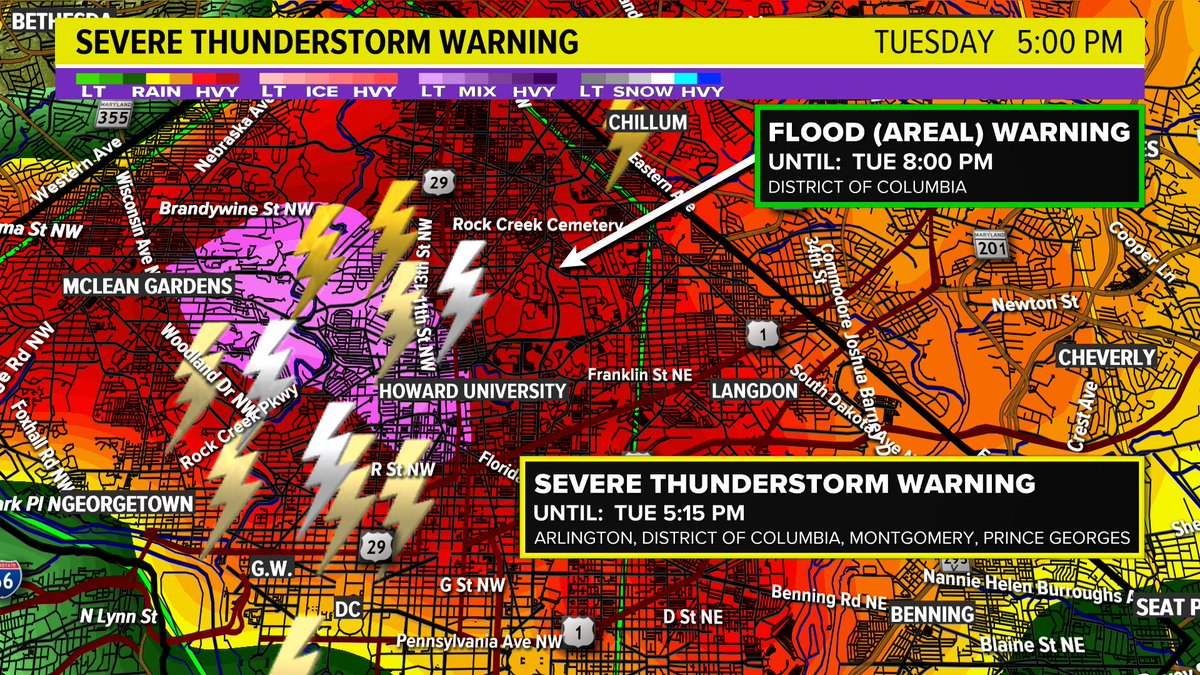 """Where you see the pink is where we are spotting the hail. This hail may be 1"""" or larger.  Take cover in D.C.  @wusa9 #wusa9weather <br>http://pic.twitter.com/JBCbjFxwLE"""