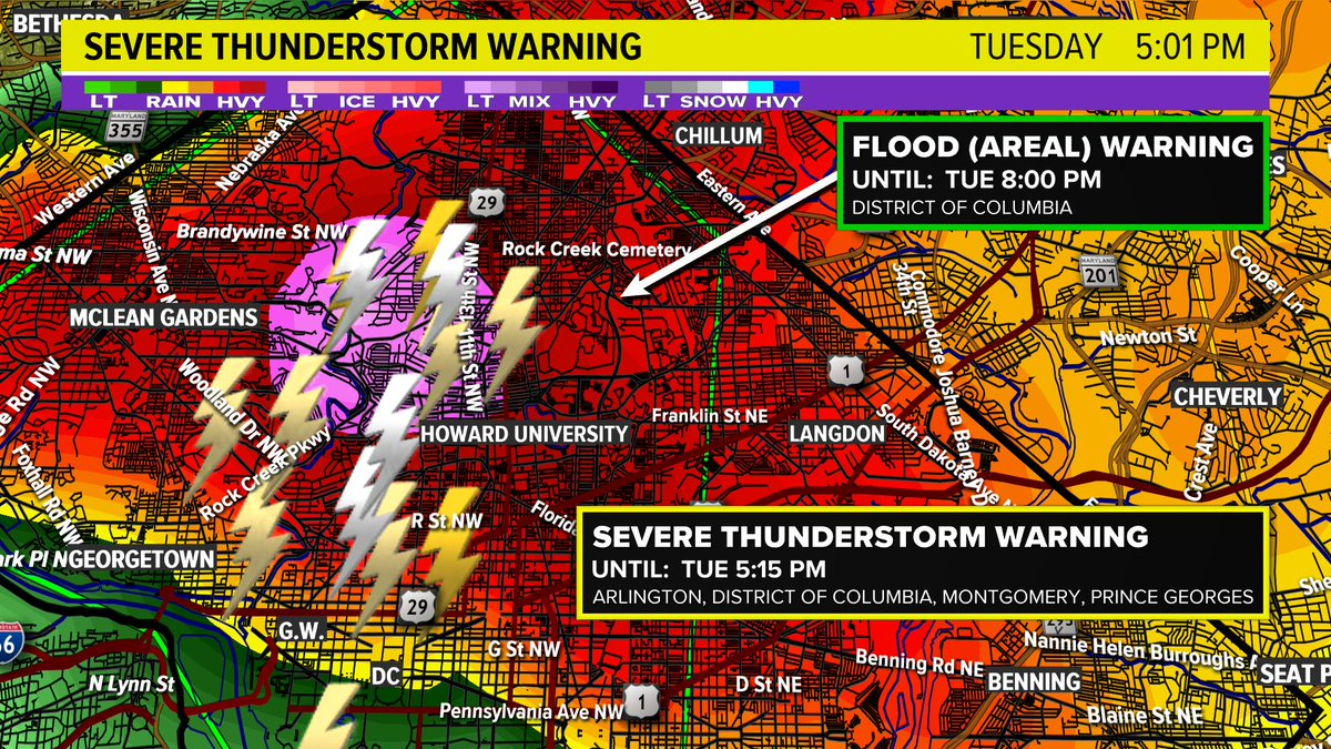 """AREAL FLOOD WARNING for DC.  Watch out for flooding in DC.  Rainfail rates are more than 3"""" per hour.  Areal Flood Warning until 8 p.m. @wusa9 #wusa9weather <br>http://pic.twitter.com/R0nyWvHuxH"""