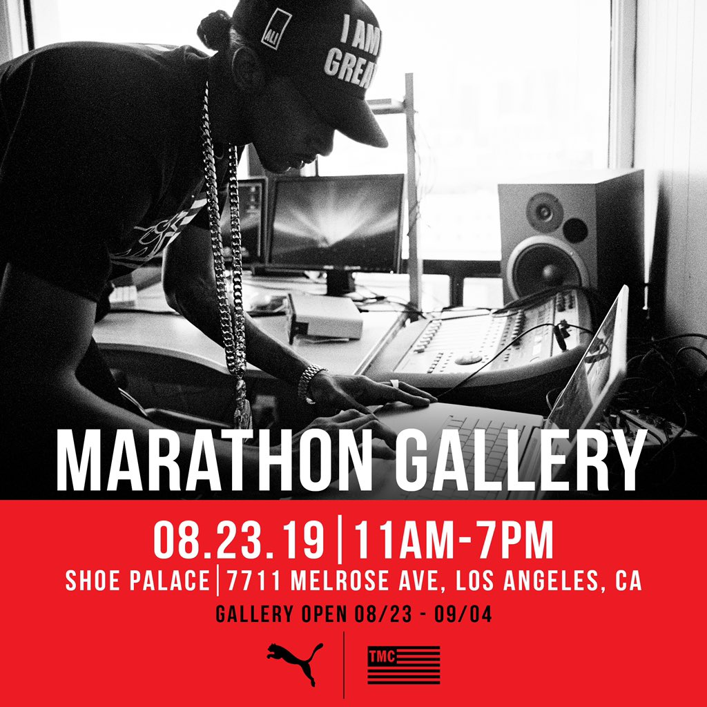 LA please join us this Friday, August 23rd for a special opening of the #MarathonGallery presented by @Puma and The Marathon Clothing. We'll be celebrating the life and legacy of @NipseyHussle through some very special photographs captured throughout the last decade. #PumaxTMC<br>http://pic.twitter.com/SXNYEionCO