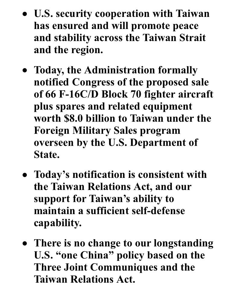 Proposed sale of F-16 fighter aircraft to #Taiwan now has been been formally notified to Congress, according to @StateDept.<br>http://pic.twitter.com/aeHESz2Clj