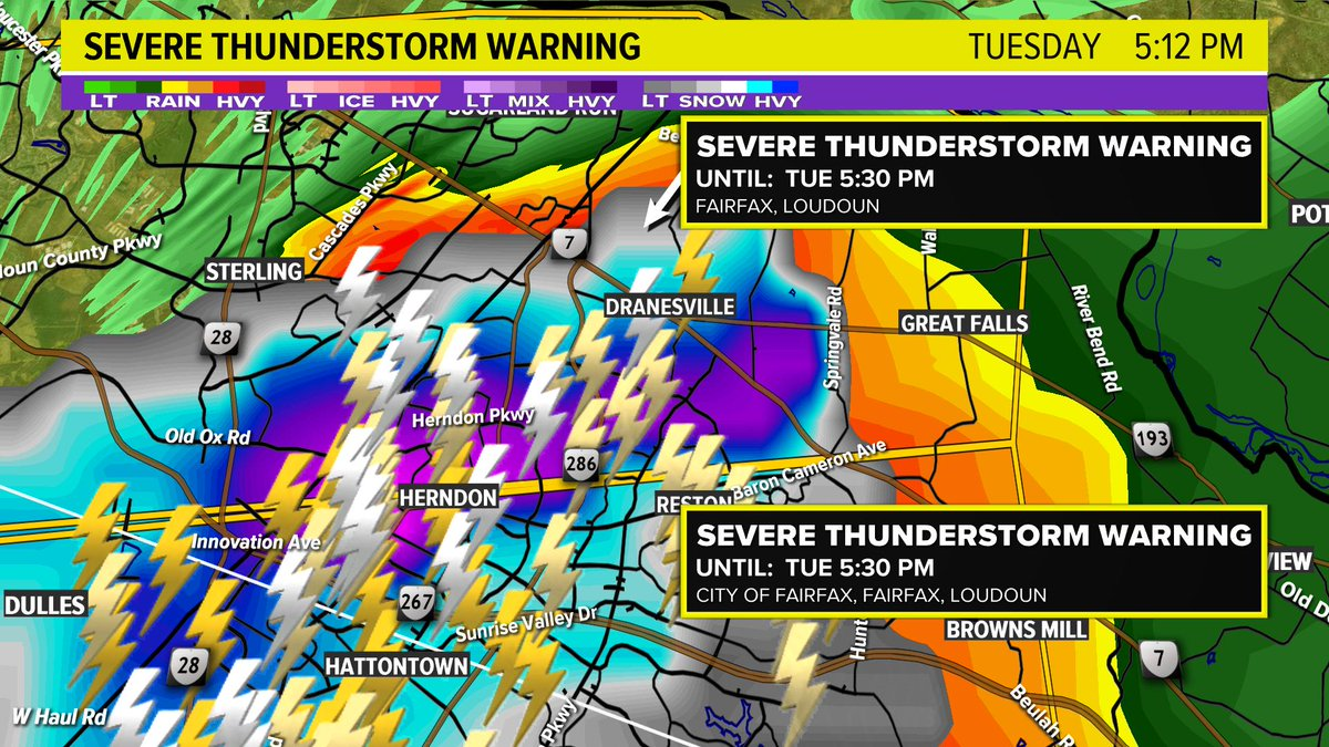 """You may get some large hail around the Herndon area.  Hail may be between 1-2"""".  (The hail is indicated in the purple, blue and gray colors.) (Darker the color, bigger the hail)  @wusa9 #wusa9weather <br>http://pic.twitter.com/NyncaCBpF0"""
