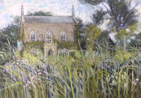 Bindon Abbey water meadows #Dorset (pastel) - Felicity House <br>http://pic.twitter.com/3Imdl56yte