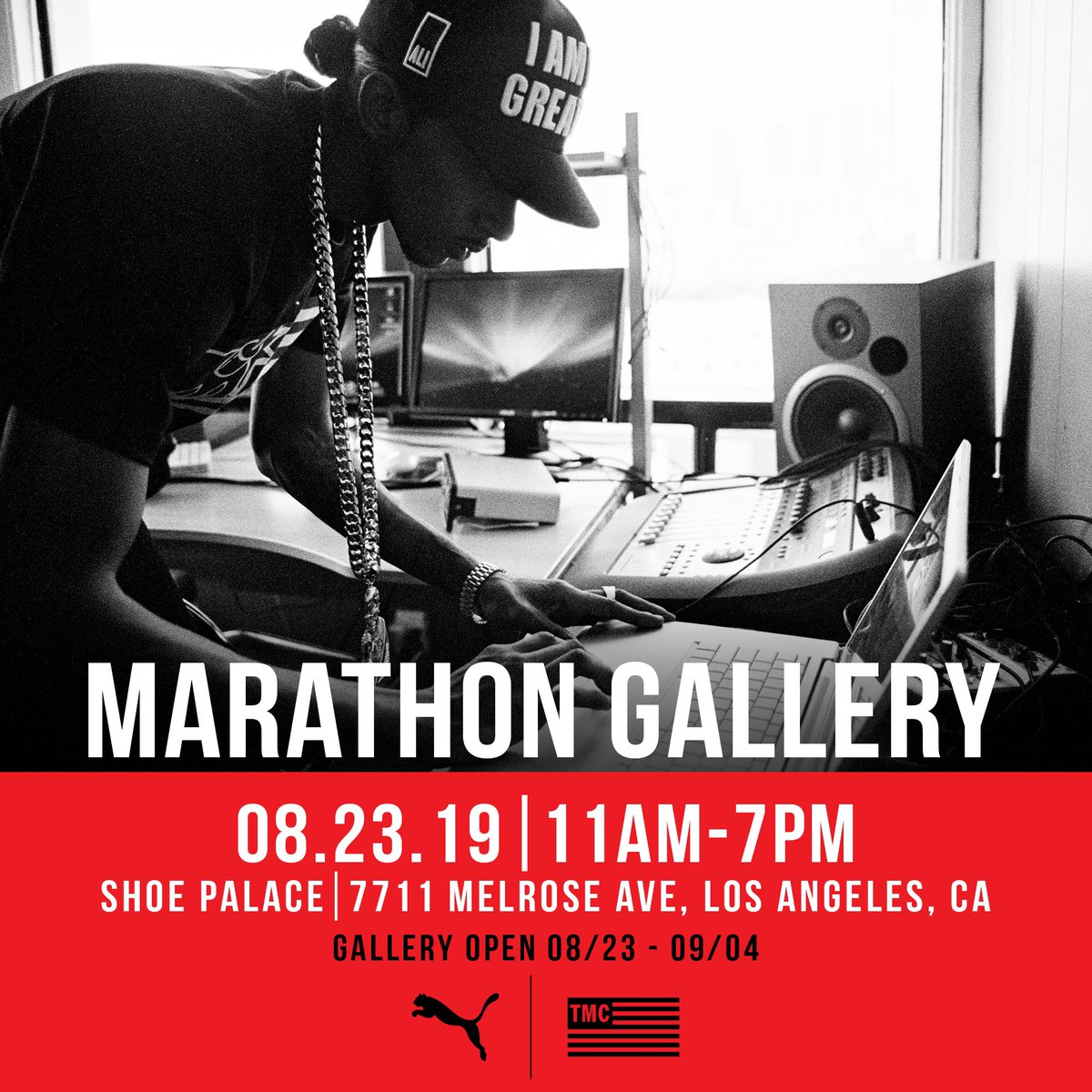 LA please join us this Friday, August 23rd for a special opening of the #MarathonGallery presented by @Puma and @TheMarathonClothing. We'll be celebrating the life and legacy of @NipseyHussle through some very special photographs captured throughout the last decade.  #PUMAxTMC <br>http://pic.twitter.com/XRV1q83h2R