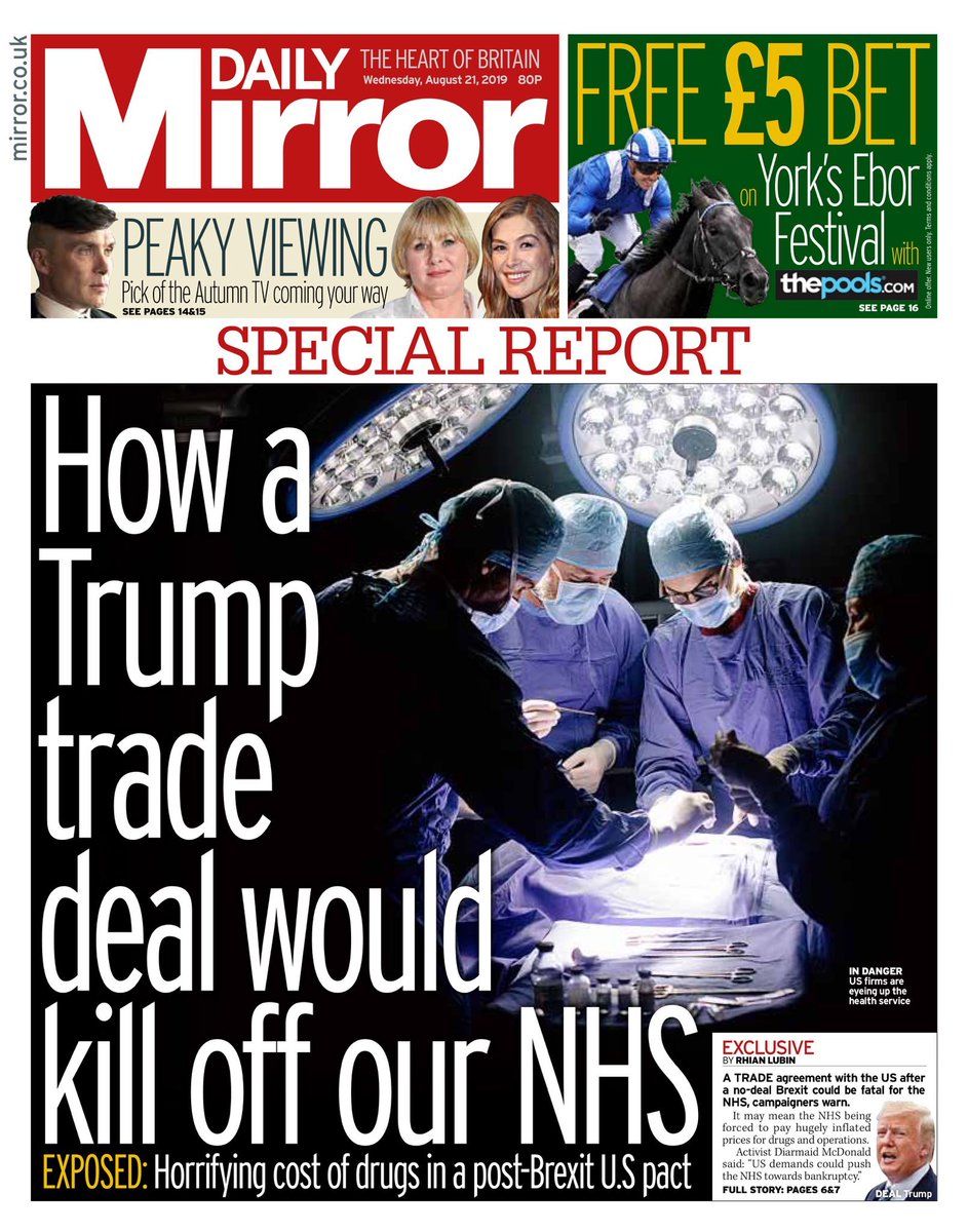 Our NHS must not be for sale in a trade deal with Trump, patient data must be safeguarded and our NHS mustn't be forced into buying expensive US pharmaceuticals.