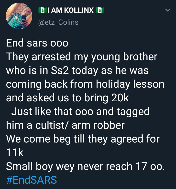 This is Injustice .. Imagine an Ss2 student arrested because of cyber crime.. I'll beg @segalink @OgbeniDipo @PoliceNG @thepamilerin @ProfOsinbajo @ObongRoviel @TeniEntertainer @UNCLE_AJALA  @BillionTwiTs to please take action on this  #EndSARS<br>http://pic.twitter.com/5sMlvCJFxG