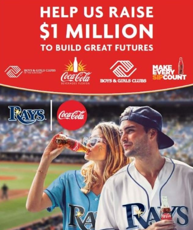 Every sip counts! Congrats to EJ Triguero who is throwing out the first pitch at tonight's @RaysBaseball game! Don't forget! @CocaCola @FamilyDollar @RaysBaseball have teamed up to raise 1 million dollars for the @BGCA_Clubs.   https:// us.coca-cola.com/give/causes/bc ga/  …  #RaysUp <br>http://pic.twitter.com/N5f2MmwkJ7