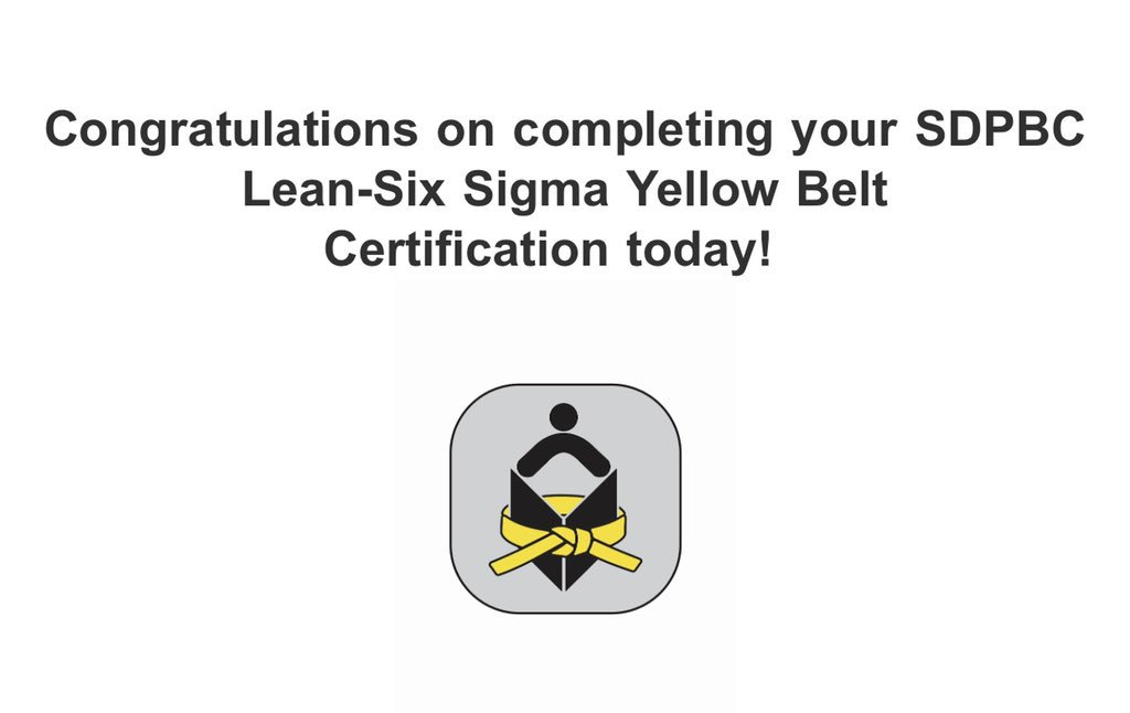 So excited to have earned my Lean-Six Sigma Yellow Belt today! Ready to support @pbcsd using valuable tools for improvement with a focus on efficiencies to promote operational excellence.  #LeadershipDevelopment
