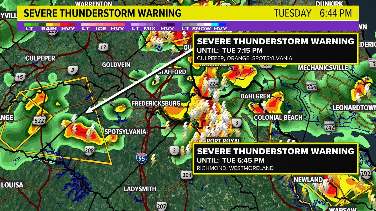 New severe thunderstorm warning for Culpeper, Orange and Spotsylvania until 7:15.  Watch out for heavy rain, hail and strong winds. @wusa9 #wusa9weather <br>http://pic.twitter.com/9D9ec5zziu