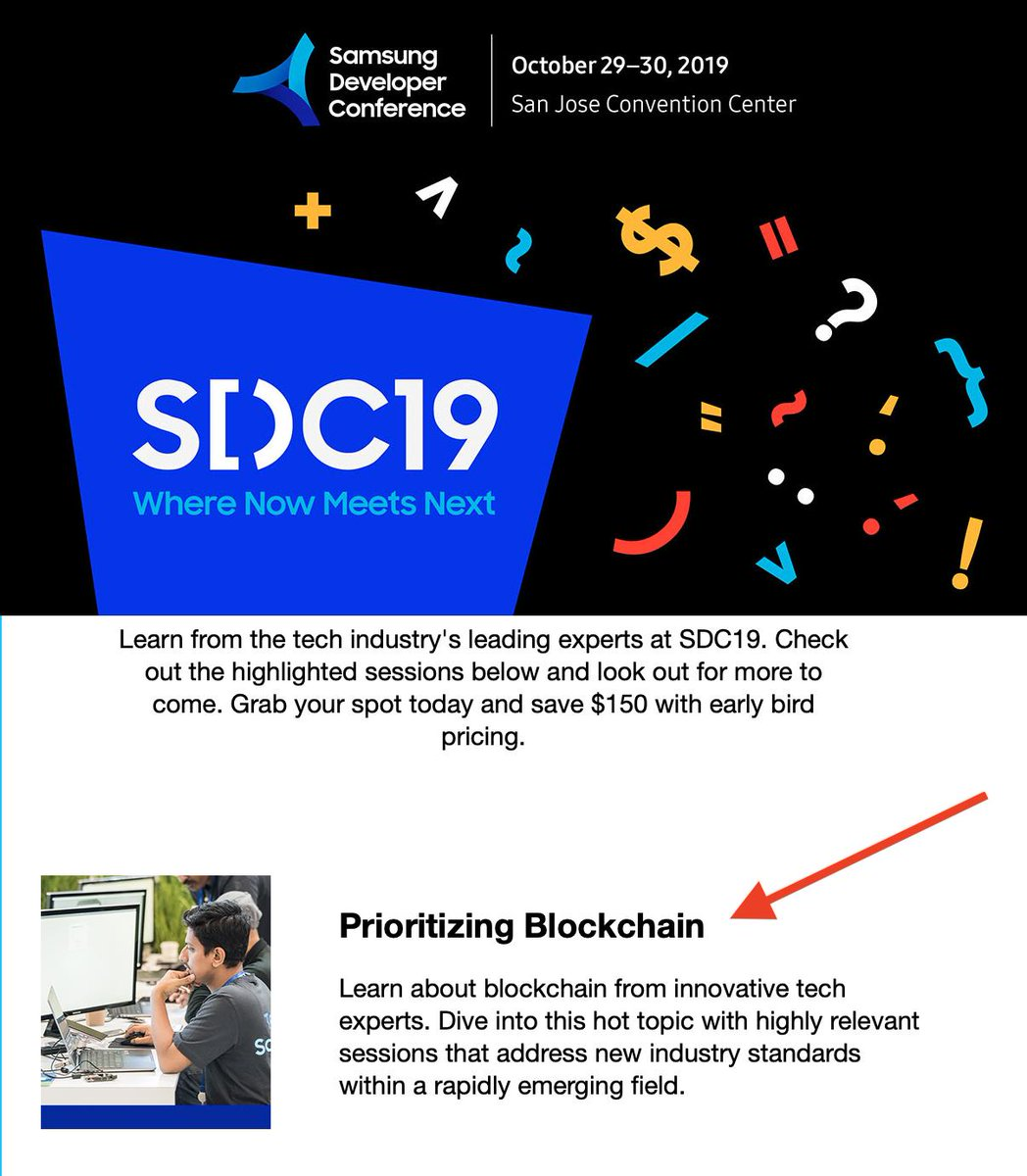 """Quite exciting move by @SamsungMobile to announce their #SDC19 @SamsungDevUS conference and put in highlights """"Prioritizing Blockchain""""   #MassAdoption #Blockchain #Gaming #Samsung<br>http://pic.twitter.com/cV8xi3xv6d"""