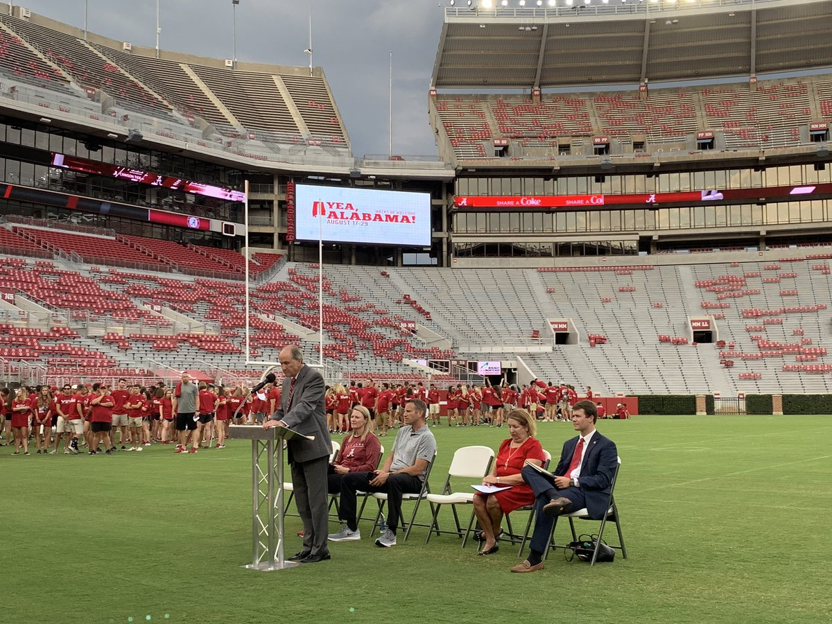 """""""You chose UA for a reason. It wasn't by accident... Today you are Alabama. You are now part of the University community. You are important to us. Welcome home and Roll Tide."""" - Dr. Stuart Bell #YeaAL19<br>http://pic.twitter.com/k9hIgyMkXU"""