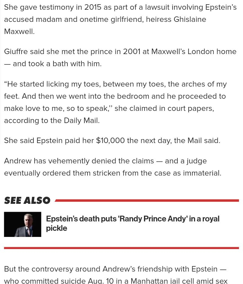 ANDREW is trapped in a royal meds over his ties to pedophile Jeffrey Epstein. An Accused have testimony in 2015, as part a lawsuit involving EPSTEIN right . [Ghislaine?] MAXWELL.  Heiess to THE FAILING MAXWELL FAMILY!!++ <br>http://pic.twitter.com/y511QtGbXz