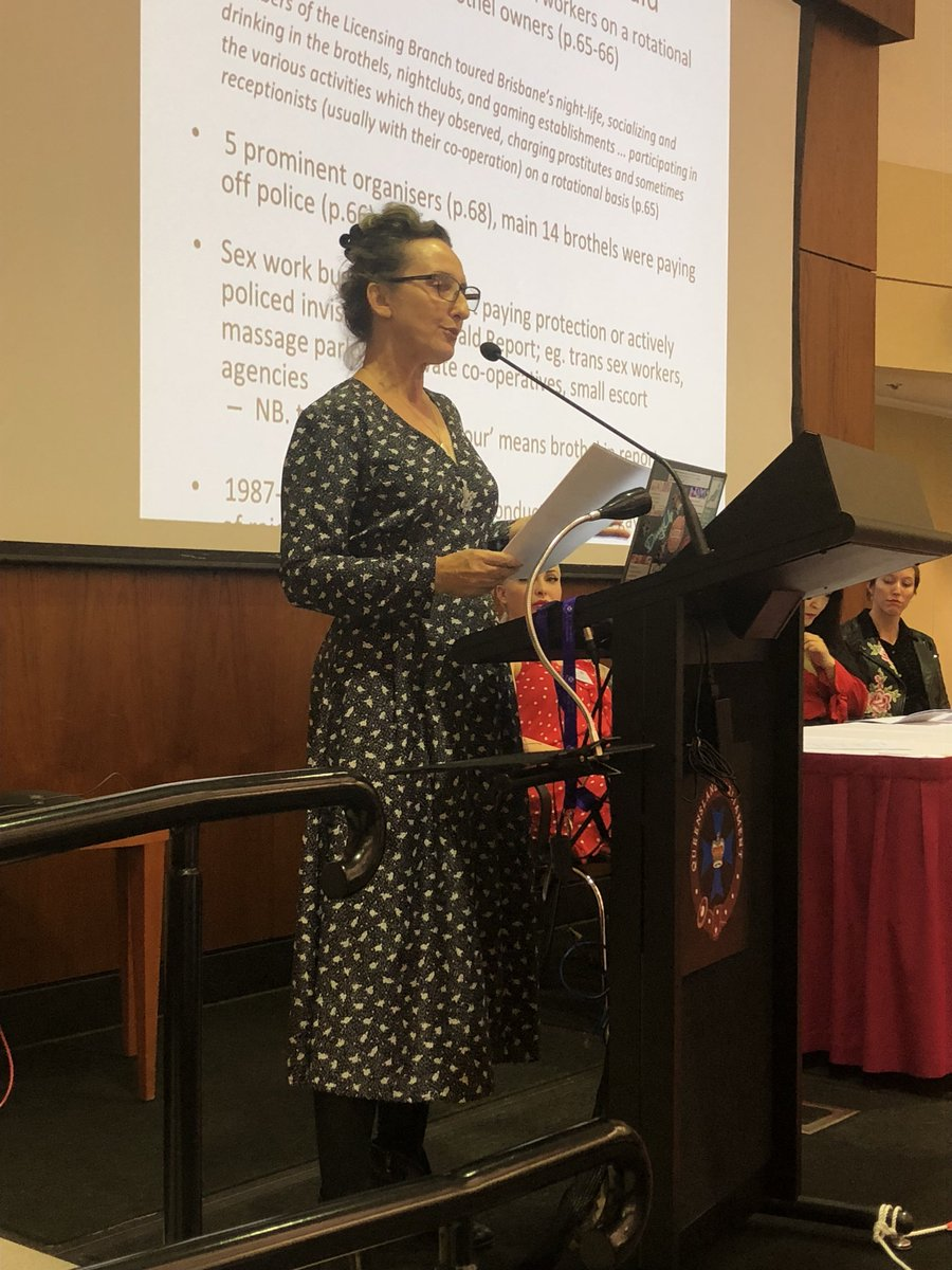 Candi presents on the #FitzgeraldReport  and how the sex industry worked at the time. The CJC review recommendations followed soon after but many were not taken up, incl: that there should be no specialised police unit & sex work should be under #health  not #police   #DecrimQld