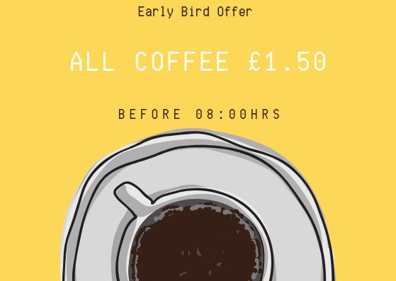 All coffee £1.50 before 08:00hrs today. #GigaBean  #Oxford  #Coffee