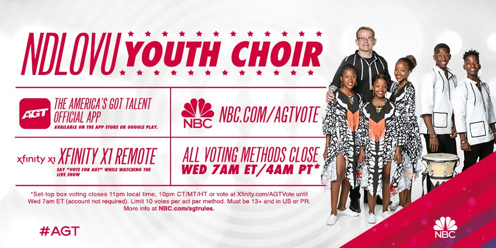 Incredible! We can't believe we performed live in front of America on @AGT! Thank you all for your support and now we need a favour. Help us continue our journey. Vote for us here:  http:// NBC.com/AGTVote     #AGT<br>http://pic.twitter.com/tMPAulaEUG