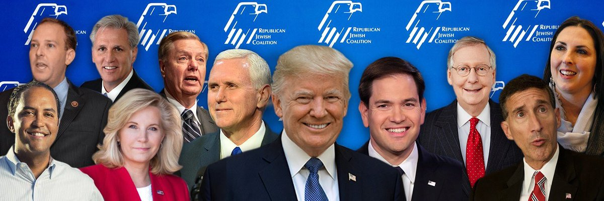 This is the Republican Jewish Committee's banner photo because there are only two Jewish Republicans in Congress (the president considers the remaining three dozen who are democrats to be disloyal) <br>http://pic.twitter.com/lTz6S8lTSt